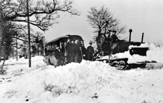 Bus stuck in snow outside Southam