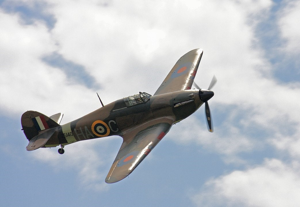 A Hurricane fighter plane By Rdrozd - Own work, CC BY-SA 3.0, https://commons.wikimedia.org/w/index.php?curid=10624095