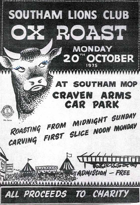 A 1975 poster advertising the Mop Ox Roast organised by Southam Lions.